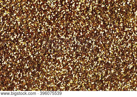 Yellow Confetti Background. Shiny Grain Texture. Glamour Party Effect Pattern. Glowing Noise Glitter