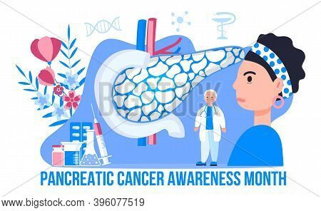 Pancreatic Cancer Awareness Month Is Organised On November In Usa. Pancreas Doctors Examine.