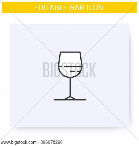 Wine Glass Line Icon. Alcohol Stemware. Party Drink. Restaurant, Bar Menu. Cocktail Glass. Cocktail