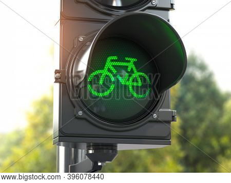 Bicycle green signal on traffic light. Free bike road or zone for bikes.  Bike friendly politics concept. Sustainable transport. 3d illustration