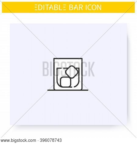 Whiskey Glass Line Icon. Alcohol Stemware. Party Drink. Restaurant, Bar Menu. Scotch, Rum, Long Drin