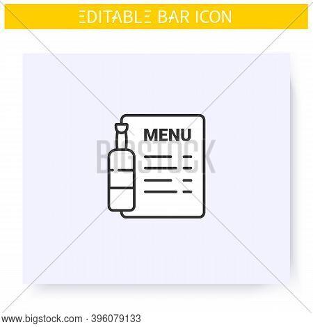 Bar Menu Line Icon. Brochure, Flyer, List. Alcohol, Restaurant, Night Club, Bar Menu. Cocktail Party