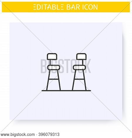 Bar Chairs Line Icon. Tall Stools. Pub, Diner, Coffee Shop, Restaurant Interior, Furniture. Cocktail