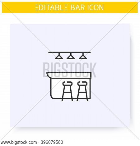 Bar Counter Line Icon. Pub, Diner, Coffee Shop, Restaurant Interior, Furniture. Cocktail Party And D