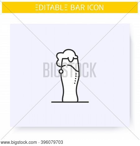 Beer Glass Line Icon. Alcohol Stemware. Party Drink. Beer Fest. Restaurant, Pub, Brewery, Bar Menu.