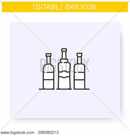 Alcohol Bottles Line Icon. Party Drinks. Restaurant, Bar Menu. Wine, Whiskey, Tequila Or Vodka Bottl