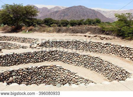Cantalloc Aqueduct In Nazca Or Nazca Town, Spiral  Or Circle Aqueducts Or Wells, Peru, Inca Architec