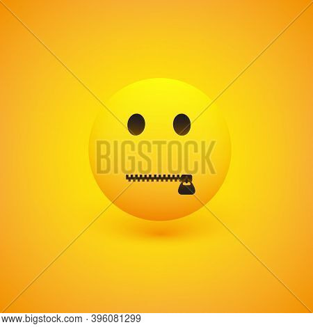 Zipped Mouth Emoji On Yellow Background - Simple Emoticon With Opened Eye - Vector Design Concept