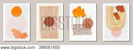 Minimal Artworks Vector Collection With Orange Circles And Brown Parallel Lines. Abstract Trendy Pos