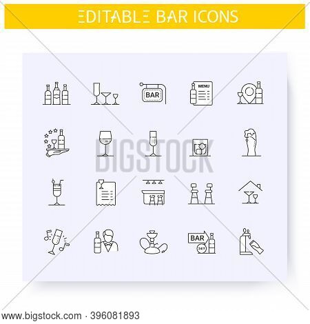Bar Line Icons Set. Alcohol Drinks, Stemware Types. Bar Interior, Menu, Utensils. Cocktail Party And