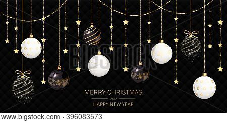 White, Golden And Sparkle Christmas Balls And Stars On Black Holiday Background. Illustration With T