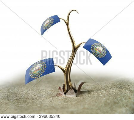 3d Illustration. 3d Sprout With New Hampshire Flag On White