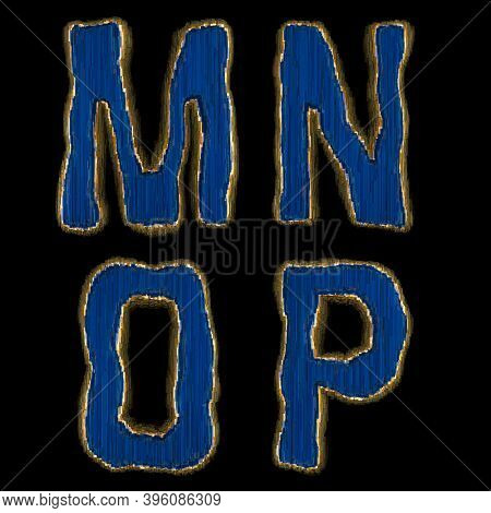 Set of alphabet letters M, N, O, P made of industrial metal blue color. Isolated black background. 3d rendering