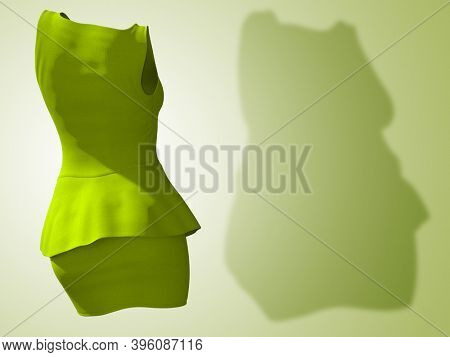 Conceptual fat overweight obese shadow female blouse and skirt vs slim fit healthy body after weight loss or diet thin young woman on green. A fitness, nutrition, obesity health shape 3D illustration