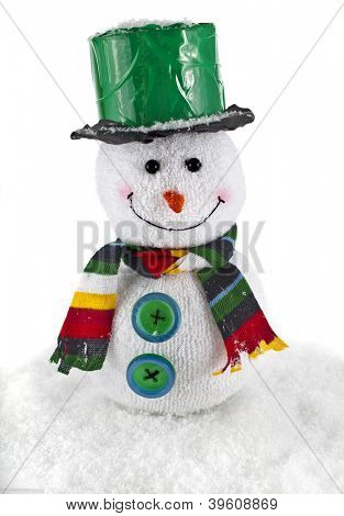 ?heerful Christmas snowman , isolated on white background