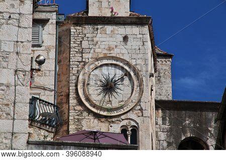 City Clock Tower In Split City On Adriatic Sea, Croatia