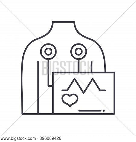 Ekg Icon, Linear Isolated Illustration, Thin Line Vector, Web Design Sign, Outline Concept Symbol Wi