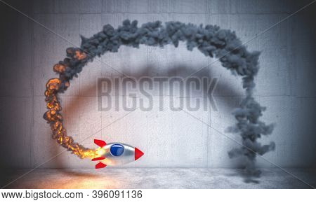space rocket flying in a circle creating a smoke trail. 3d render. nobody around.