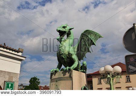 Ljubljana, Slovenia - 30 Apr 2018: Dragon Bridge, Zmajski Mostm In Ljubljana, Slovenia