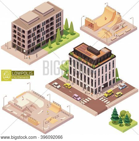 Vector Isometric Buildings And Skatepark. Houses, Homes And Offices. High-rise Buildings, Trees, Car