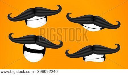 Mustache Smiles. Curled Mustache. Cartoon 3d Vector Illustration.