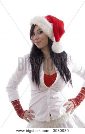 Smiling Pretty Girl Wearing Christmas Hat