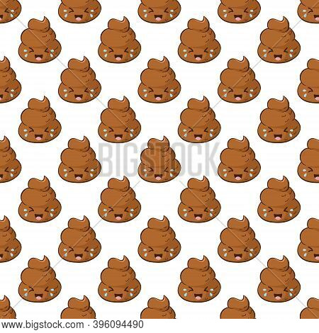 Funny Laughing Poop Emoji In A Seamless Pattern. Kawaii Background With A Giggling Poo.