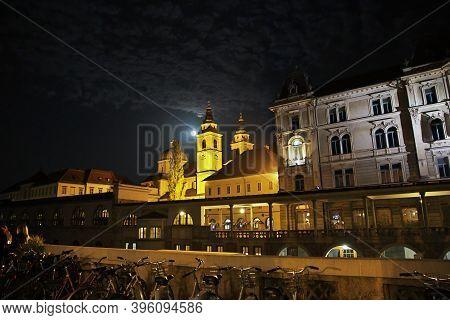 Ljubljana, Slovenia - 29 Apr 2018: Cathedral Of St. Nicholas, Stolnica Sv. Nikolaja In Ljubljana, Sl