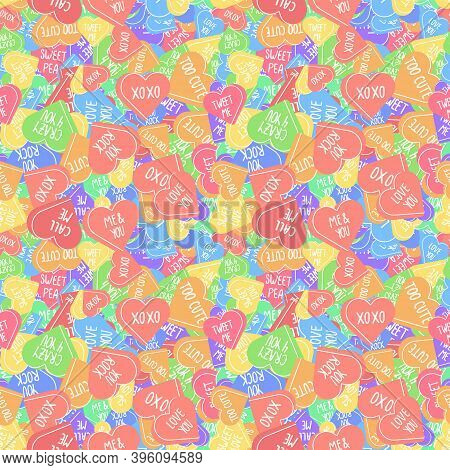 Vector Seamless Pattern With Conversation Hearts In Valentines Day. Sweethearts Colorful Background