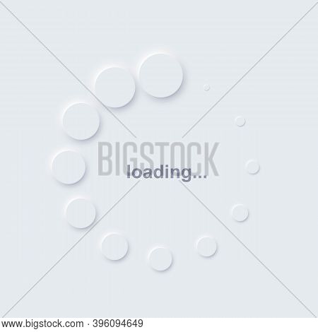Loading Icon Symbol On Computer. White Circles Indicating Download Or Upload Progress. Web Page Or S