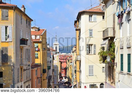 France. Architecture Of The Old Town Of Nice On A Sunny Summer Day