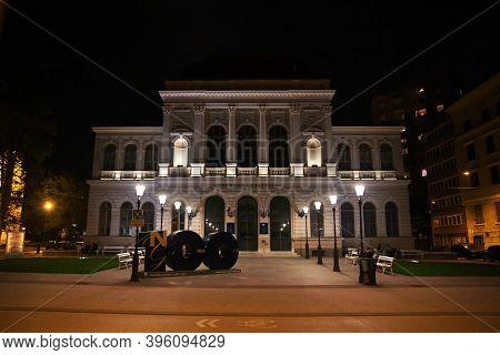 Ljubljana, Slovenia - 29 Apr 2018: National Gallery, Narodna Galerija In Ljubljana At Night, Sloveni