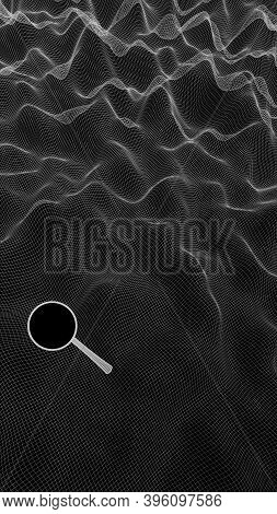 Abstract Landscape On A Dark Background. Ready Template. Cyberspace Grid. Mockup. Hi Tech Network. S