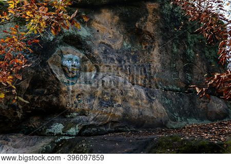 Monument Sandstone Rock Relief Sphinx Created By Vaclav Levy Between Libechov And Zelizy, Cliff Carv