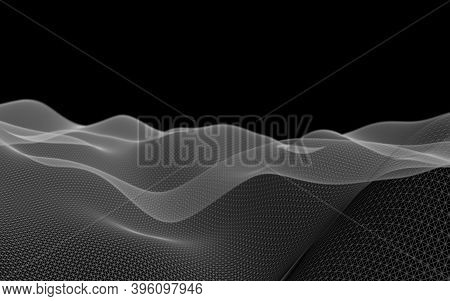 Abstract Gray Landscape On A Black Background. Cyberspace Grid. Hi Tech Network. 3d Technology Illus