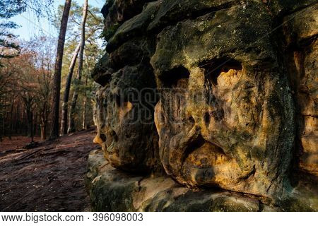 Monument Sandstone Rock Sculptures And Harfenice (harfenist) Cave Created By Vaclav Levy Between Lib