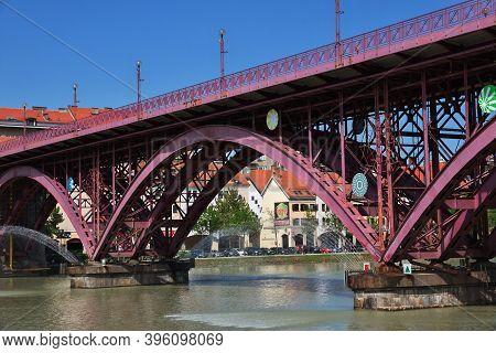 Maribor, Slovenia - 29 Apr 2018: Old Bridge, Drava Bridge In Maribor, Slovenia