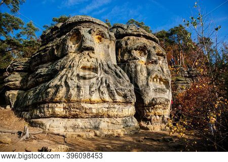 Monument Sandstone Rock Sculptures Certovy Hlavy - Devils Heads Created By Vaclav Levy Between Libec