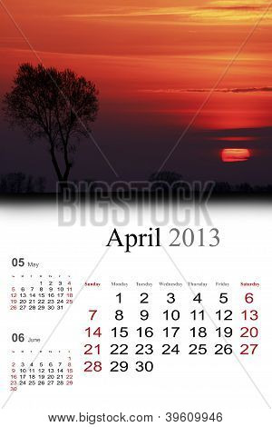 2013 Calendar. April.