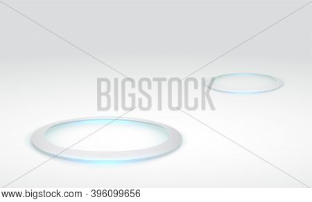 Abstract Hi-tech Background For Display Product. Round Pedestal Podium On White Background. Futurist
