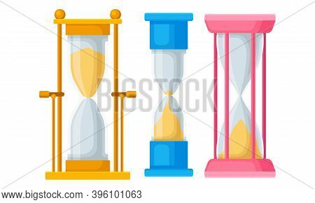Hourglass Or Sandglass As Device For Time Measuring Vector Set