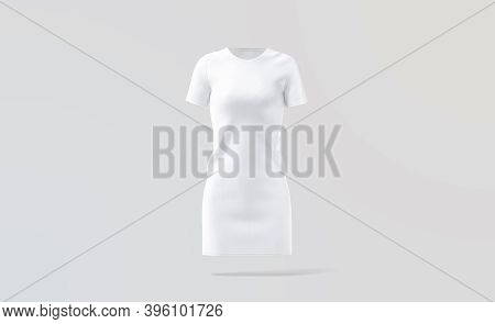Blank White Cloth Dress Mock Up, Gray Background, 3d Rendering. Empty Casual Fabric Apparel For Eleg