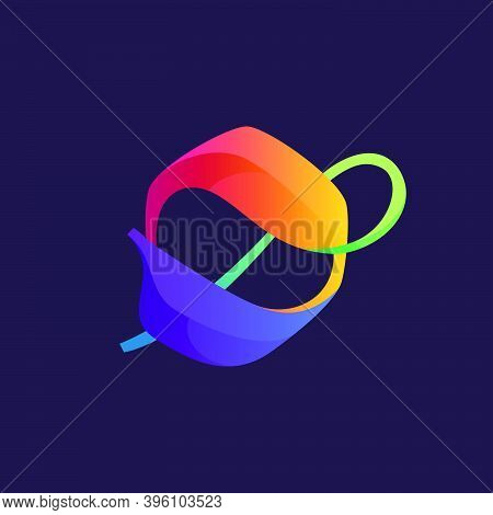 Vibrant Calligraphy O Letter Logo With Colorful Gradients. Vector Classic Typeface For Expressive La