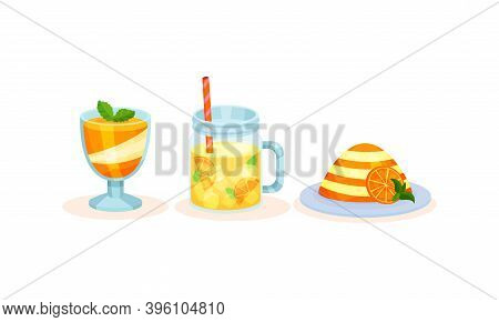 Orange Fruity Desserts With Pudding And Smoothie In Jar With Straw Vector Set