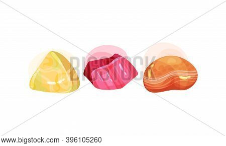 Semi Precious Stone And Minerals With Shiny Surface Vector Set