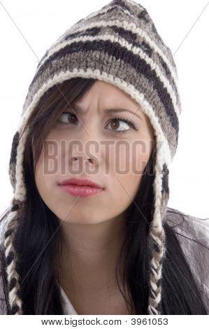 Close Up View Of Female Model Wearing Woolen Cap