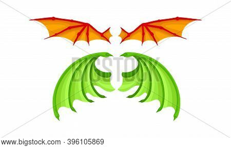 Membranous Wings Of Different Flying Creature Vector Set
