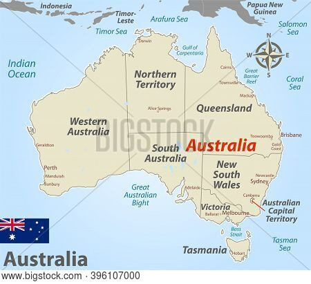 Map Of Australia With Named States And Territories. Vector Image