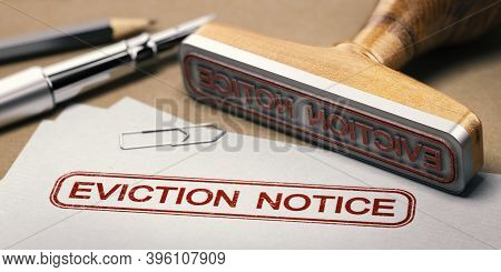 3d Illustration Of A Rubber Stamp With The Text Eviction Notice Printed On A Document.