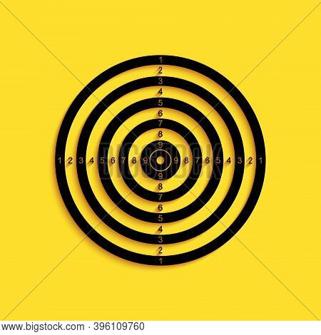 Black Target Sport For Shooting Competition Icon Isolated On Yellow Background. Clean Target With Nu
